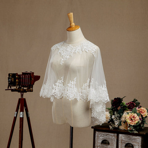Lace Applique Tulle Wedding Poncho