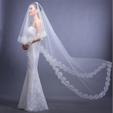 Two-Layered Lace Edge Applique'd  Cathedral Veil (2m)