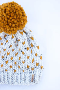 Oatmeal Butterscotch Knit Beanie Hat with Pom | Yellow Gold Toque