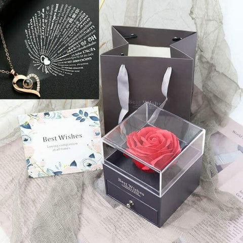 i love you necklace rose box