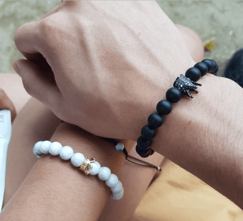king and queen crown bracelets for couples