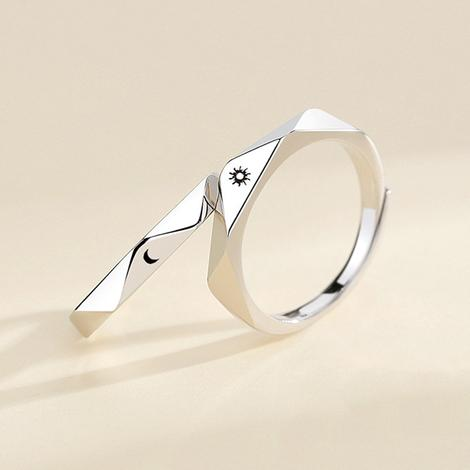 Sun & moon rings for couples