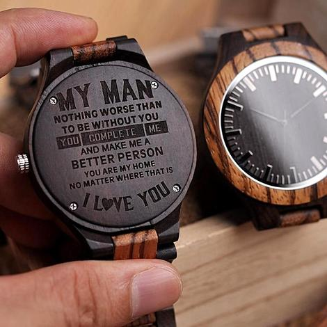 Wooden engraved watch for men