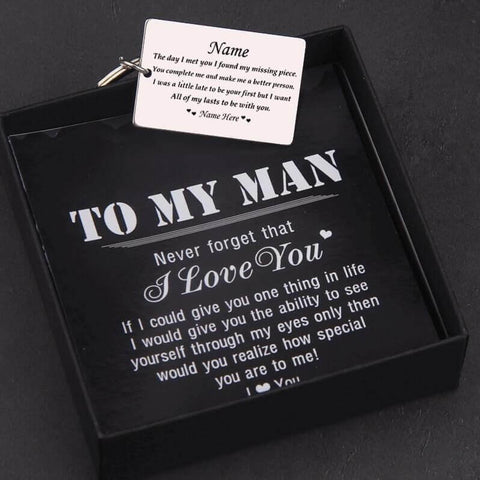 you complete me personalized keychain with quote