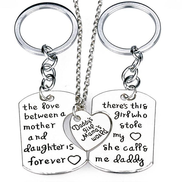 Dad Daughter Mother Keychain Set - BigBeryl