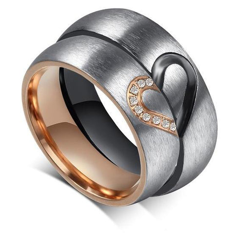 Heart Engraved Promise Rings for Couples - BigBeryl