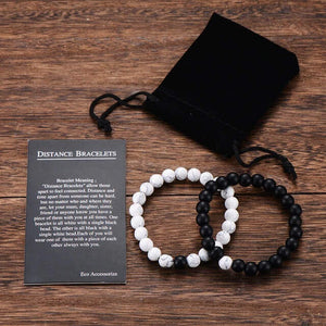 Long Distance Relationship Bracelets for Couples [Set of 2]