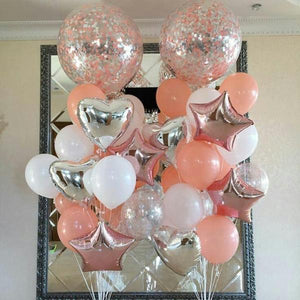 Foil Confetti Latex Balloon Wedding Decoration Set 18 Pcs / Set - BigBeryl