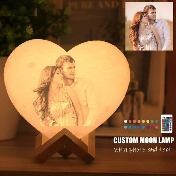 3D Heart Shape Moon Lamp Light