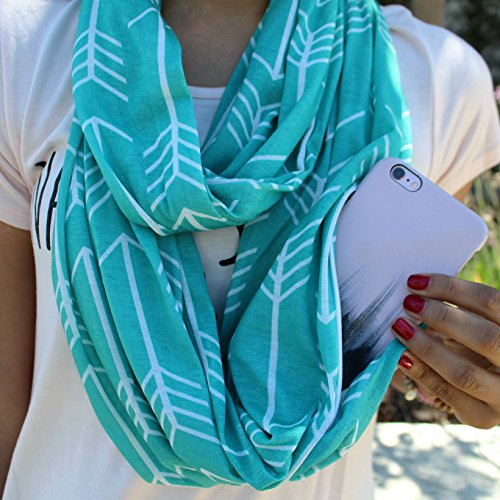 Pattern Convertible Infinity Scarf with Pocket - BigBeryl