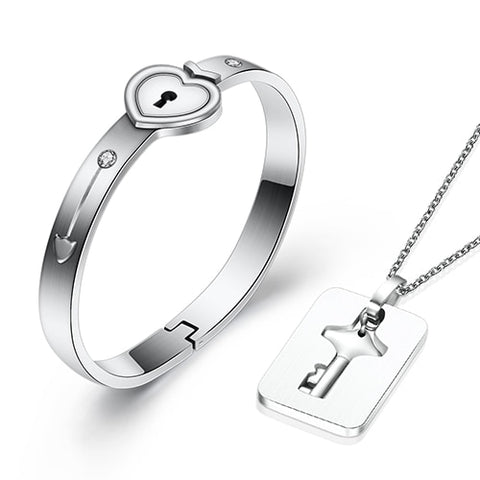Heart Lock Bracelet & Key Necklace - BigBeryl
