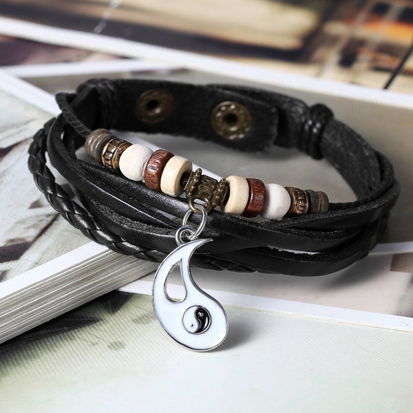 Matching Leather Yin Yang Couples Bracelets Set of 2