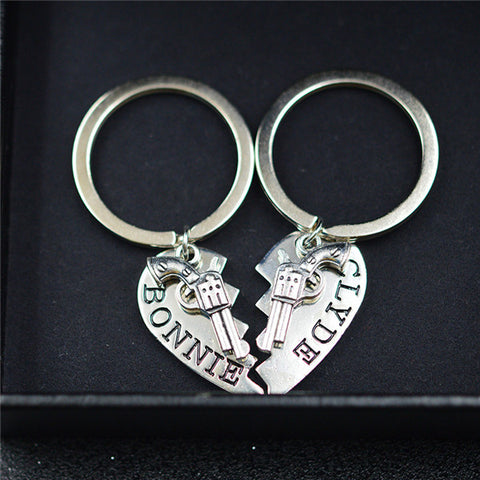 BONNIE and CLYDE Couple Key Rings - BigBeryl