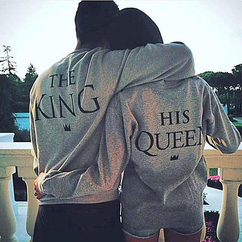 The King His Queen Matching Sweatshirts for Couples - BigBeryl
