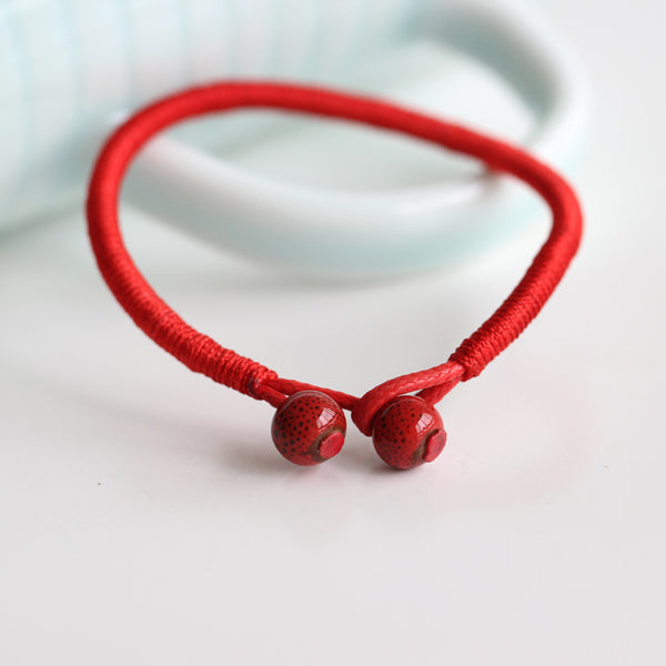 Red Ceramic Beads Lucky Bracelet [Set of 2] - 6 New Colors! - BigBeryl