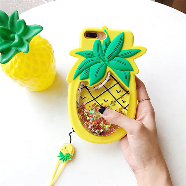Pineapple Liquid Glitter iPhone Case With Strap | Squishy Case - BigBeryl