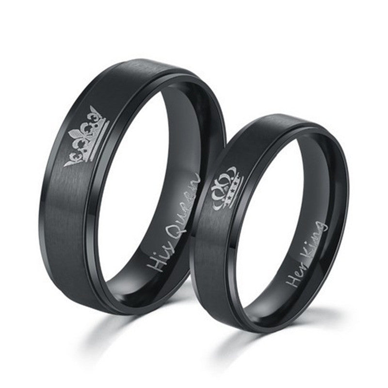 Black King and Queen Crown Couple Rings - BigBeryl
