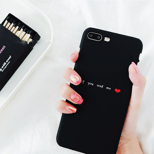 If You and Me Matte Black iPhone Case for Couples - BigBeryl