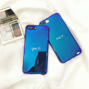 Blue Mirror Back Me and You Matching iPhone Case for Couples - BigBeryl