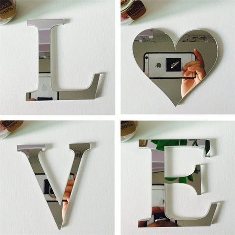 Love/Home Acrylic Mirror Wall Stickers - BigBeryl