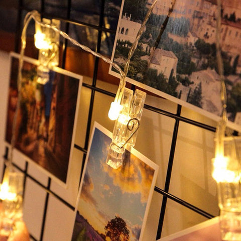 LED Photo Clip String Lights | Hang Pictures On String - BigBeryl