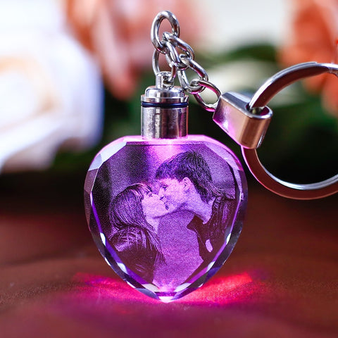 Personalized Couple LED Crystal Keychains - BigBeryl