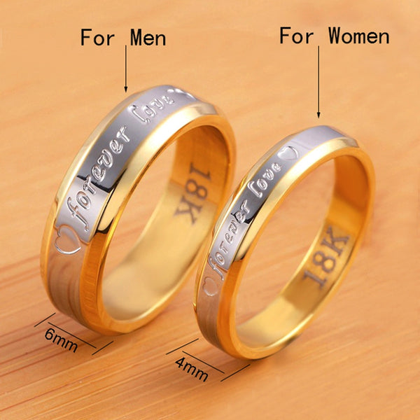 Gold Plated Couple Promise Rings Set | Forever Love Engraved - BigBeryl