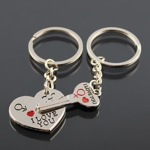 Heart Lock and Key Keychain for Couples - BigBeryl