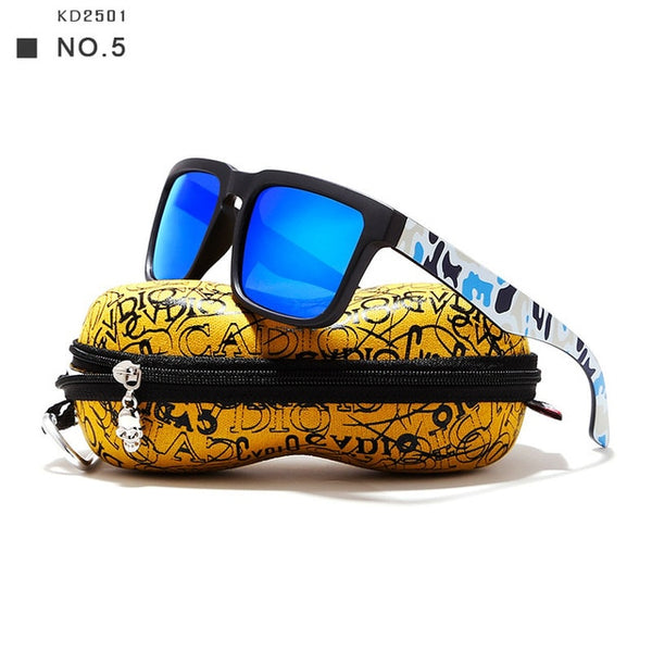 Polarized Sunglasses For Men With Skull Zipper Peanut Case - BigBeryl