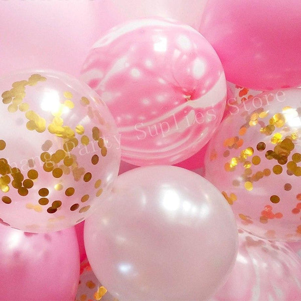 Pink White Marble Gold Confetti Balloons Wedding Party Decoration 20 Pcs / Set - BigBeryl