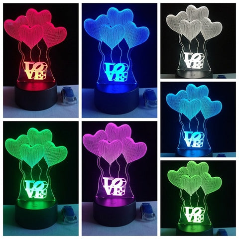 Heart Shaped Light 3D LED Lamps - BigBeryl