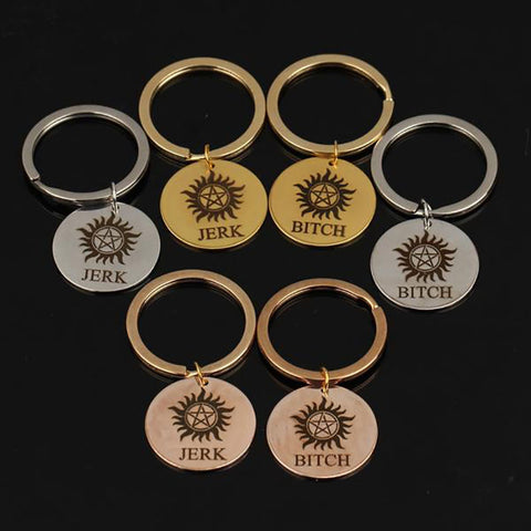 JERK BITCH Stamped Key Chain for Couples - BigBeryl
