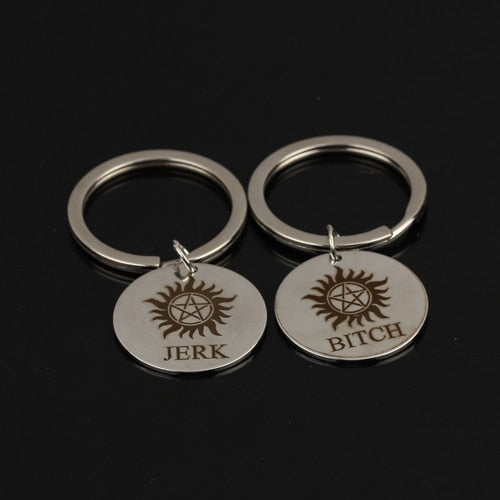 JERK BITCH Stamped Key Chain for Couples [Set of 2] - BigBeryl