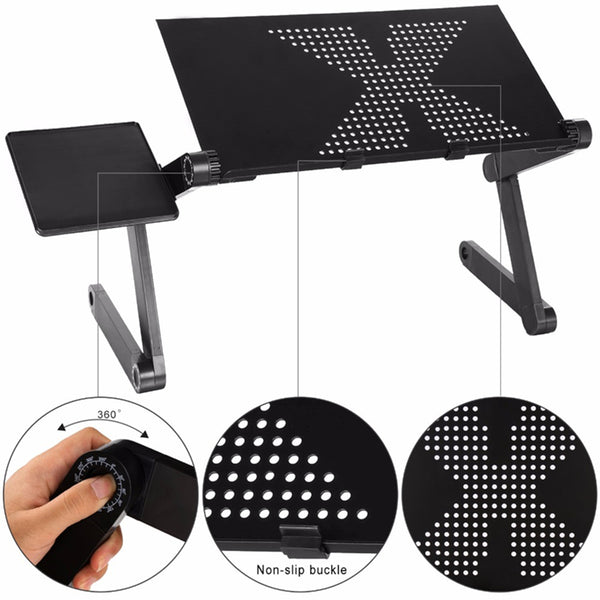 Adjustable Ergonomic Laptop Desk Stand With Mouse Pad - BigBeryl