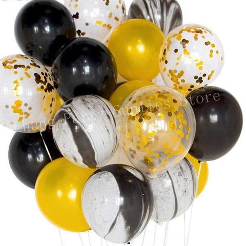 Black White Marble Gold Confetti Balloons Wedding Party Decoration 20 Pcs / Set - BigBeryl