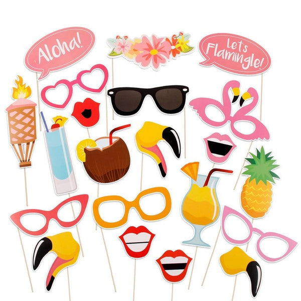 Beach Flamingo Summer Party Photo Booth Props 21 Pcs / Set - BigBeryl