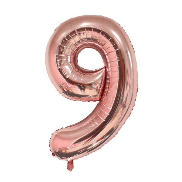 Number Foil Balloons 16 inches Gold Silver and Rose Gold - BigBeryl