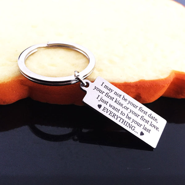I MAY NOT BE YOUR FIRST DATE Engraved Key Chain for Wife - BigBeryl