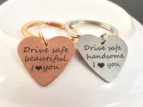 DRIVE SAFE HANDSOME Engraved Key Chain for Husband - BigBeryl