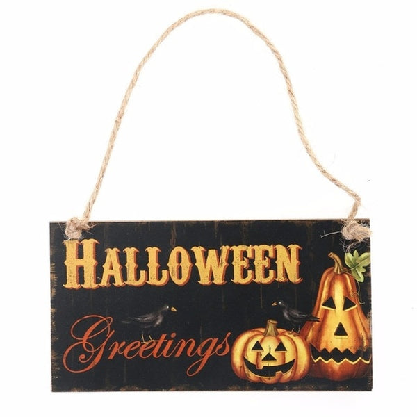 Happy Halloween Signs Wooden Plaque - BigBeryl