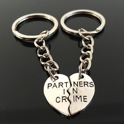PARTNERS IN CRIME Engraved Key Chain for Best Friend [Set of 2] - BigBeryl
