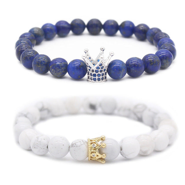 Blue and White Matching Crown Bracelets For Couples | Distance Bracelets [Set of 2] - BigBeryl