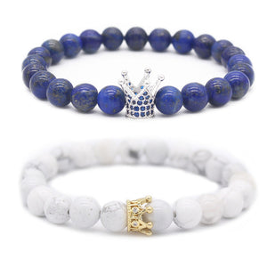 Blue and White Matching Crown Bracelets For Couples | Distance Bracelets - BigBeryl