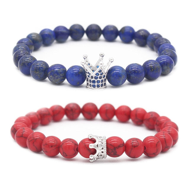 Red and Blue King and Queen Crown Couple Bracelets | Distance Bracelets - BigBeryl