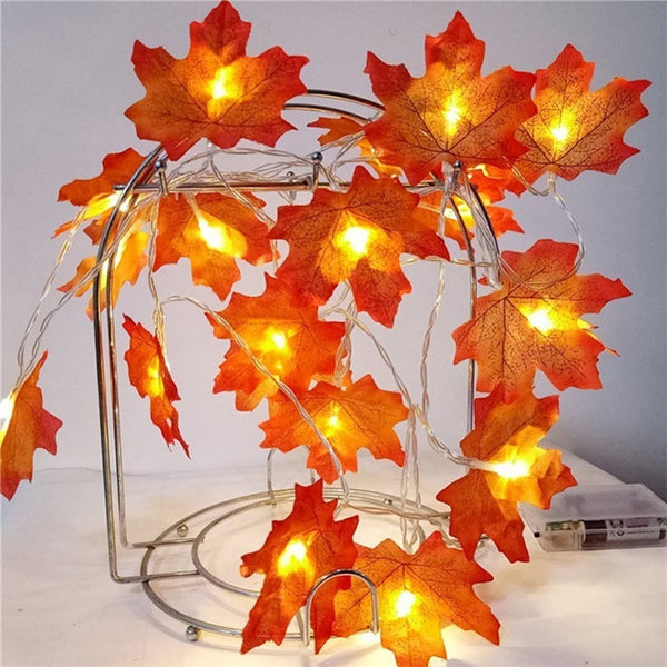 Maple Garland Halloween Thanksgiving LED String lights - BigBeryl