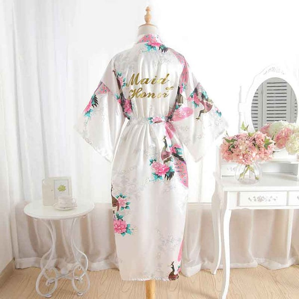 Bride And Bridesmaid Bridal Party Floral Kimono Robes - BigBeryl