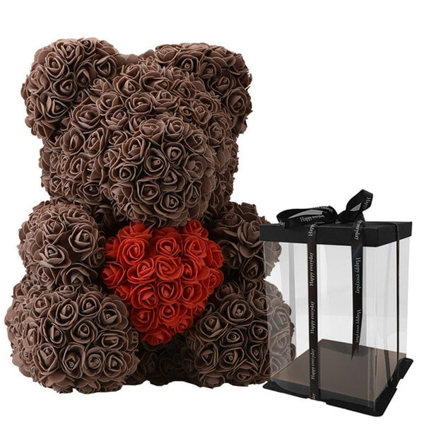 Bear Made Of Roses Holding A Heart - BigBeryl