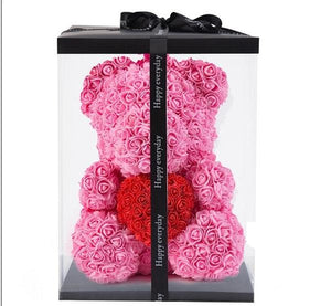Forever Rose Teddy Bear With Heart - BigBeryl