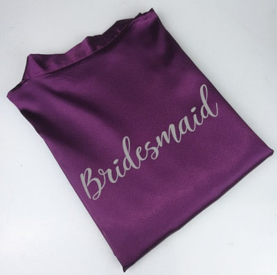 Purple Satin Bride & Bridesmaid Bridal Party Robes - BigBeryl