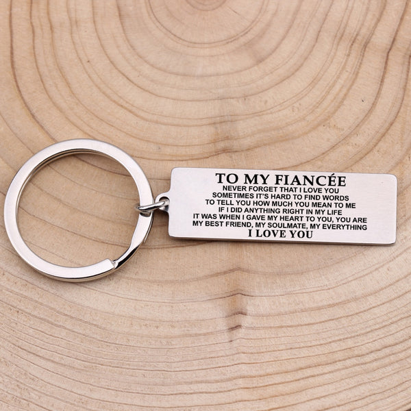 TO MY FIANCEE Engraved Key Chain for Wife - BigBeryl